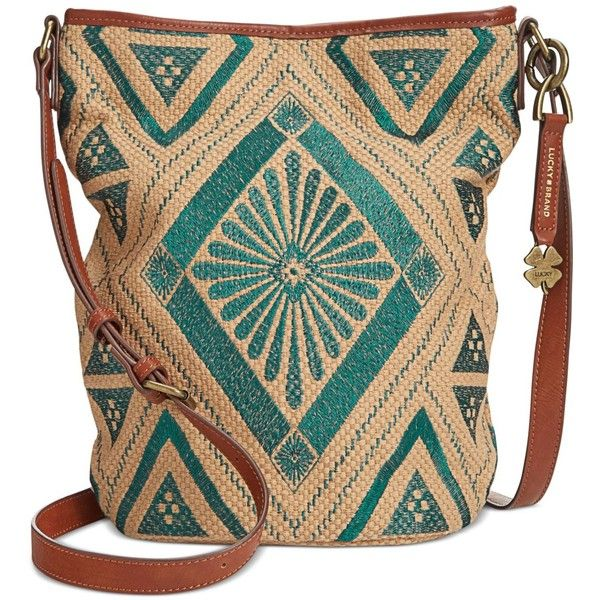 Lucky Brand Maya Bucket Crossbody ($88) ❤ liked on Polyvore featuring bags, handbags, shoulder bags, turquoise, bucket purse, beige purse, long cross body purses, crossbody bucket bag and embroidered purse