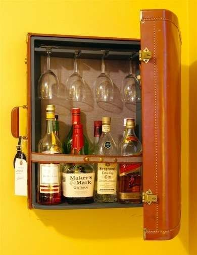Travel Lightly Incorporating vintage suitcases as design elements has become a big trend. Transforming a suitcase into a cute minibar cabinet takes great advantage of both form and function; when closed, the repurposed luggage looks like artwork on the wall. Bob Vila
