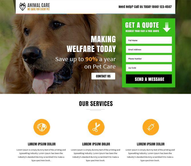 Animal Care Responsive Landing Page Design Template