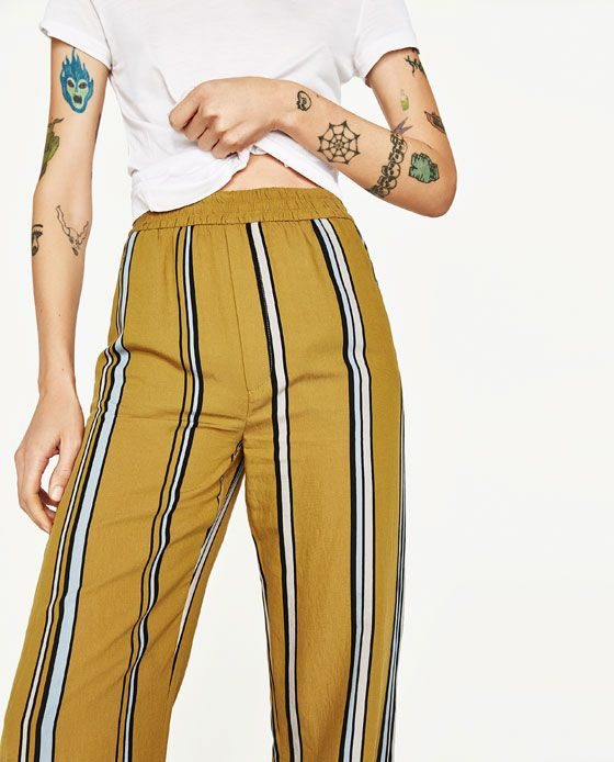 Image 5 of STRIPED PALAZZO TROUSERS from Zara
