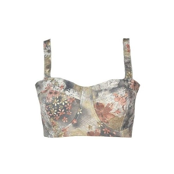 Floral Print Bustier Top With Buckle Detail ($16) ❤ liked on Polyvore featuring tops, stylemoi, crop tops, shirts, brown, white crop top, floral print crop top, crop top, brown shirt and buckle shirts