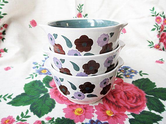 Steingut Fabrik Elsterwerda Soup Bowls Set of 3 Double Handle