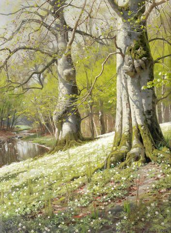 Peder Mørk Mønsted (Danish, 1859-1941) 'Anemones' - A spring morning