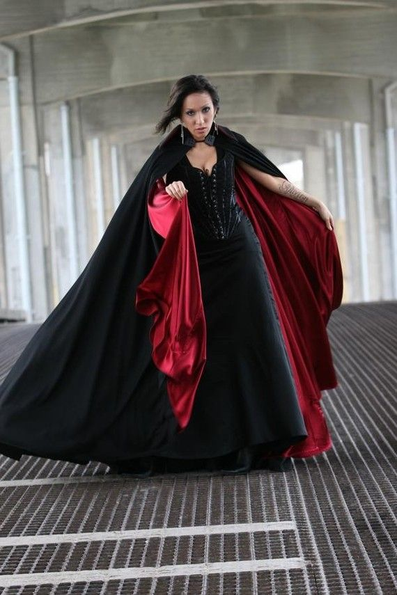 super vampire goth  blck and red cloak by OblivionClothing on Etsy
