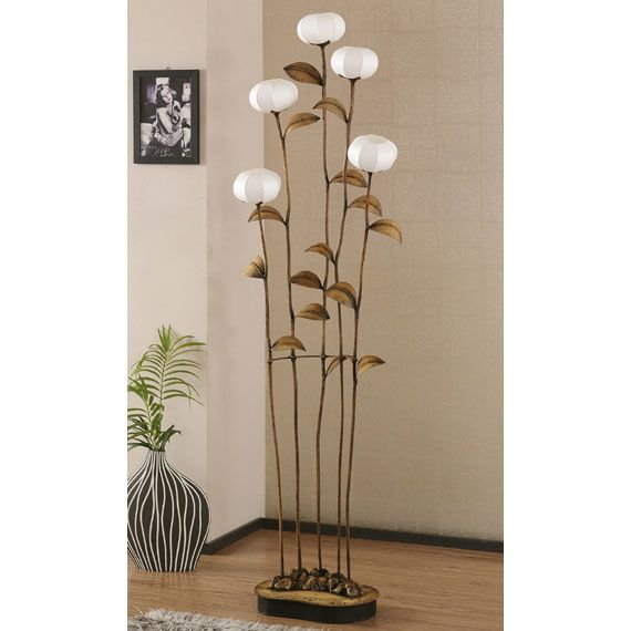 Tall Paper Floor Lamp Shades with Five Windflower Buds