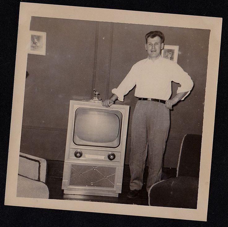 Old Vintage Antique Photograph Man Standing By Retro Television Set TV