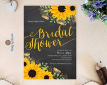 Chalkboard Sunflower bridal shower invitation printed on premium paper | Fall wedding shower invitations | Cheap bridal shower invitations