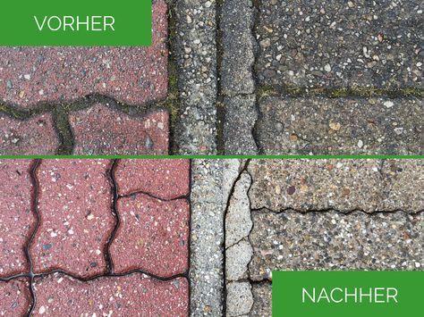 Saubere Fugen und neuer Glanz für die Steine. Eine professionelle Pflasterreinigung wirkt wahre Wunder, auch bei sehr alten Bodenbelägen. #gartenbau #reinigung #pflasterreinigung #terrasse #vorhernachher #pflastersteine #garten #tipps