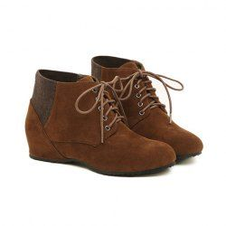$16.77 Fashion Women's Short Boots With Splice and Lace-Up Design
