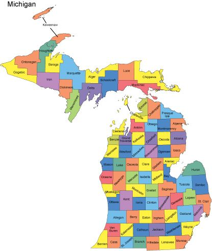 Michigan Map with Counties Big Michigan Love