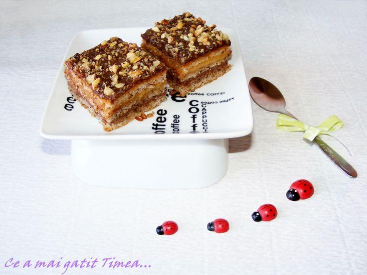 Prajitura cu nuca, caramel si ciocolata