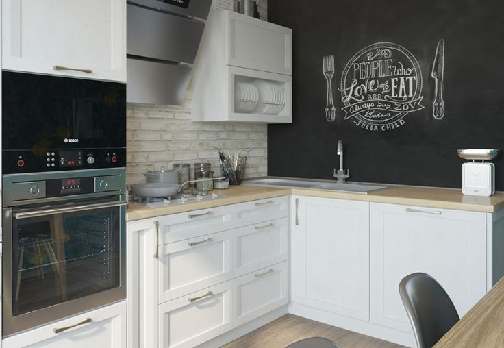 Белая кухня с современными фасадами из экошпона. White kitchen cabinet.