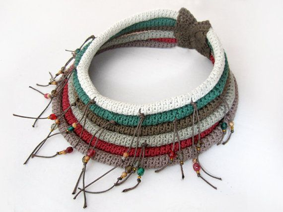 MADE TO ORDER - Crochet tribal necklace,ethnic tribal collar,fringe crochet collar,tribal collar,Native inspired necklace