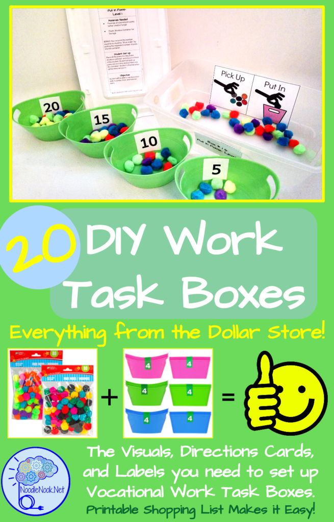 20 DIY Work Task Boxes you can make with stuff from the Dollar Store. Printable Visuals and Directions. Easy!