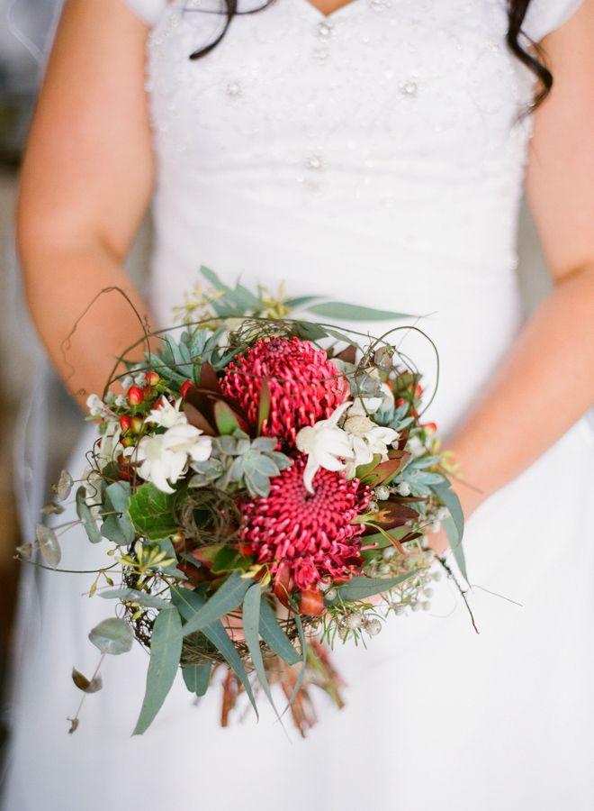 Native inspired design with Waratah, Flannel flower, succulents, nutty gum, berries