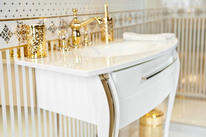 Bathroom furniture,gold bath accessory,white and gold bath, modern