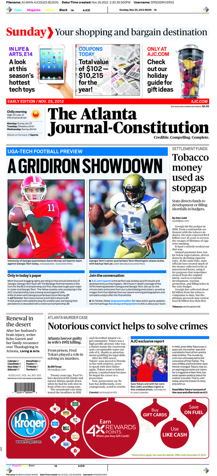 #AJC #Bulldog edition previewing the #UGa vs. #GTech game. #Newspaper #Design #Sports