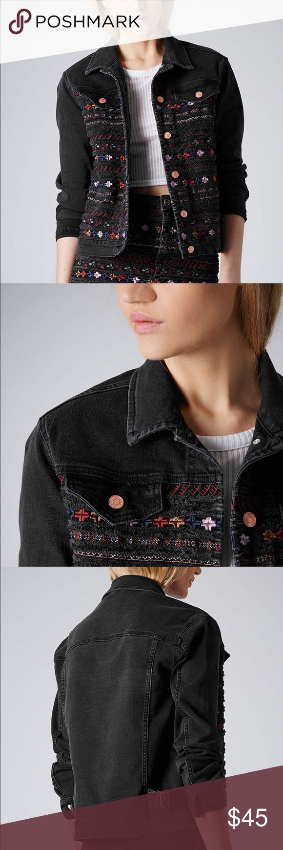 Women's Black Moto Embroidered Denim Jacket Pairs well with any outfit! Great condition - barely worn (still has that delicious stiff denim feel) Topshop Jackets & Coats Jean Jackets