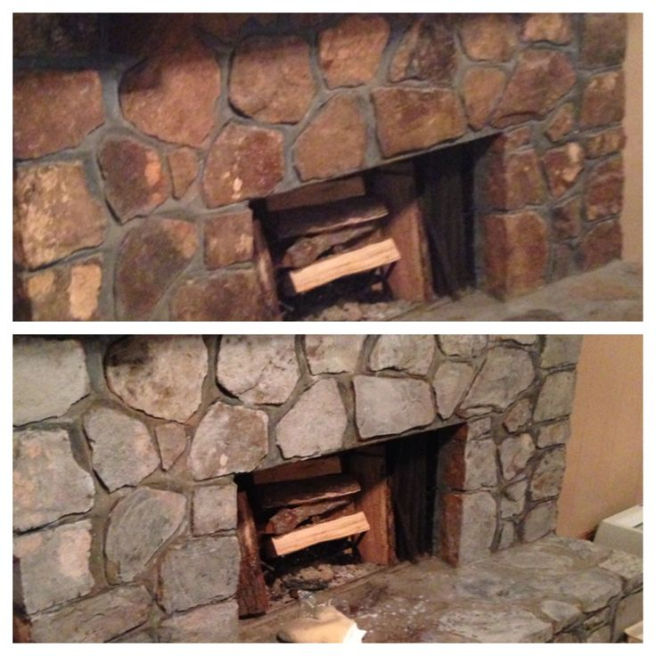 DIY painted rock fireplace. I updated our rock fireplace last weekend.  It was 70's brown stone and I wanted to lighten it up to better match our walls, which we were painting grey.  It only took about 2 hours and less than $15 to do.  I made a simple mix of  grey acrylic paint (found at Michaels for .75 ea. (took 3 bottles total) and a little water.  Sponged it over the brick (left mortar dark grey) and sealed it with a $10 gallon of masonry seal (found at home depot).