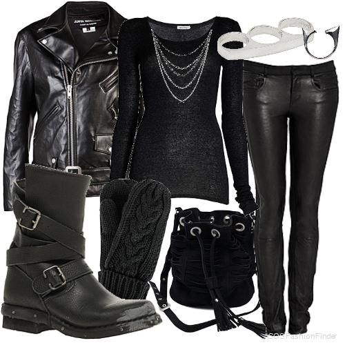 Lisbeth Salander Look by LuckyCheshireCat all except the brass nuckles ring yuck