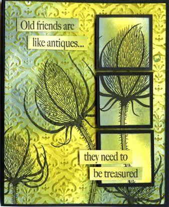Woodware - Teasels & In The Frame Ditties, Embossalicious Splendour, distress inks.