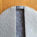 2er-Set Topflappen genäht aus 3mm Filz. Unten dunkelgrau, oben hellgrau mit Ziernähten. Durch die Handhabung als Topfhandschuhe ideal für Backbleche und heiße Töpfe. Auch als Topfuntersetzer ein...