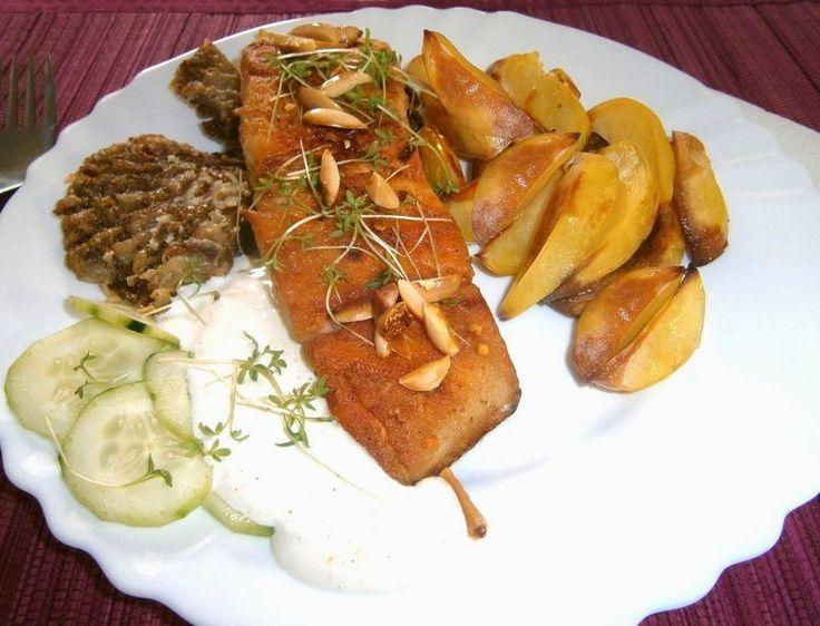 motýlia :) vareška: Losos na masle s hlivou a suchopečené zemiaky