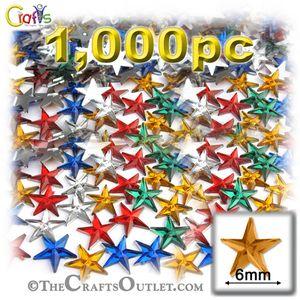1000-pc Acrylic foil Flatback Star shape Rhinestones 6mm (30ss) Mixed Colors