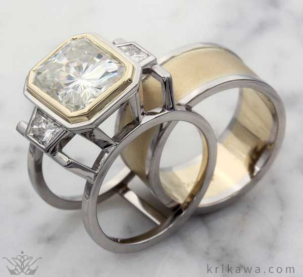 The Wide Two Tone Wedding Band Slides Into Three Stone Deco Engagement Ring And They Become A Head Turning Bridal Set Choose Your Metals Stones
