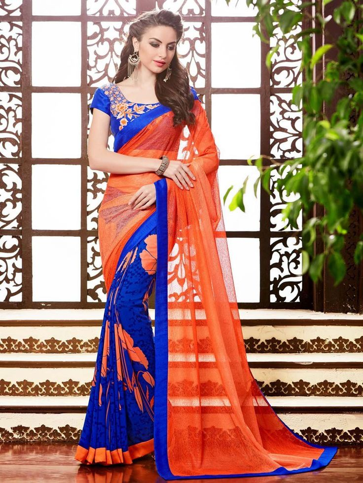 Saree trend to give a woman sensual and stunning look.  Item Code: SDH1734 http://www.bharatplaza.com/new-arrivals/sarees/half-half-saree-sdh1734.html