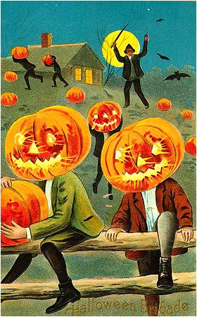 Vintage Halloween Postcard - Halloween Brigade