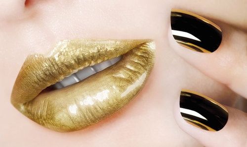 Gold lips, guard needs this lipstick