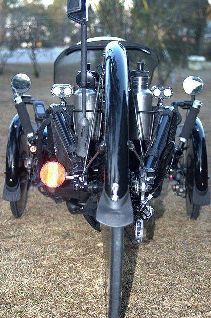 A rear view of Silk, custom Catrike recumbent bicycle