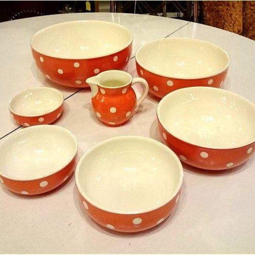 Waechtersbach spotty jug and bowls