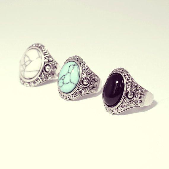 Tibetani bohemien turchese neri bianchi anello - Festival Vintage argento gioielli-Boho Style - anelli-Gemstone del pollice -US dimensioni 6/7/8/9/10/11