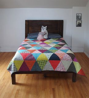 Love these triangle quilts! \\ via Fancy Tiger Crafts: Pyramid Pals! Three Chicopee Quilts (+ Tutorial!)