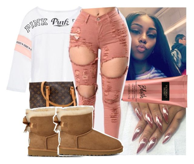 """"""""""" by kodakdej ❤ liked on Polyvore featuring Victoria's Secret, Louis Vuitton and UGG Australia"""