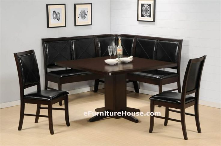 Cappuccino Substantial Corner Kitchen Dining Table Set
