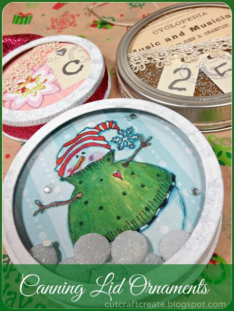 DIY ornaments made from canning lids!  Another useful craft for my mason or ball jars! #cutcraftcreate