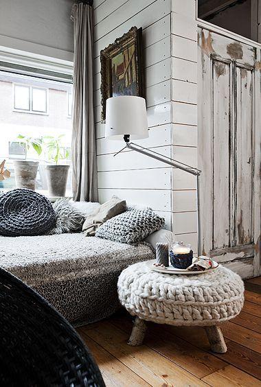 crochet ottoman and pillows