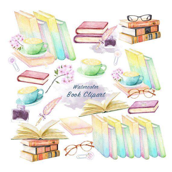 Watercolor Book Clipart Graduation Graphic Vintage Illustration