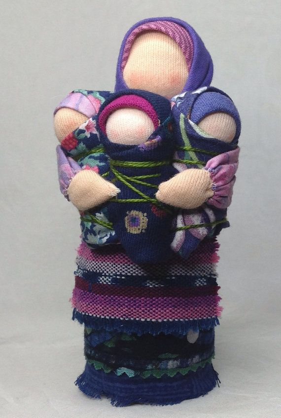 Waldorf mama doll with three babies by storybrookdolls on Etsy, $60.00