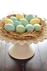 easter eggs nested on shredded rafias make a beautiful centerpiece for Easter,too cute!
