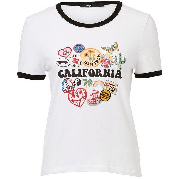 CALIFORNIA BADGE RETRO TEE ($30) ❤ liked on Polyvore featuring tops, t-shirts, basic white t shirt, basic tee shirts, retro t shirts, basic t shirt and retro tops
