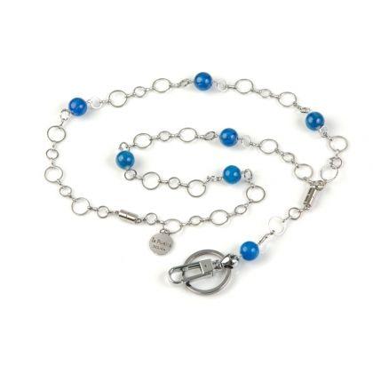ID Badge Holder Ocean Blue Agate,  Round Metal