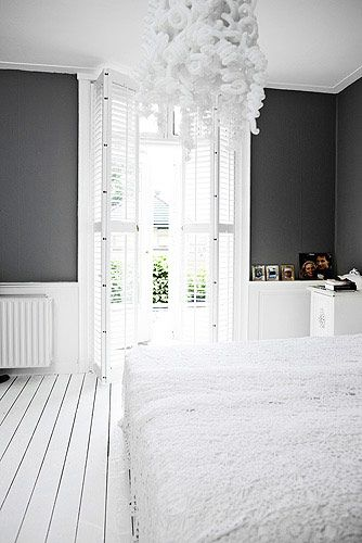 Dark grey wall and white