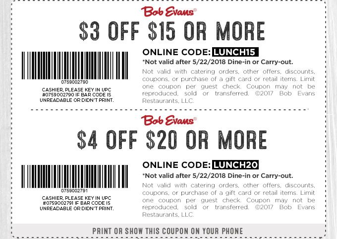photo regarding Peebles Printable Coupons named Bob Evans Coupon: $4 Off $20+ or $3 Off $15+ Printable