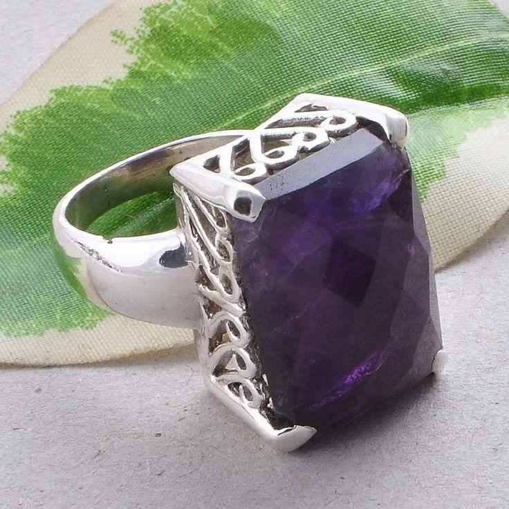 AMETHYST CHAKER CUT 925 STERLING SILVER CASTING RING RING 9.68g R01526 #Handmade #RING