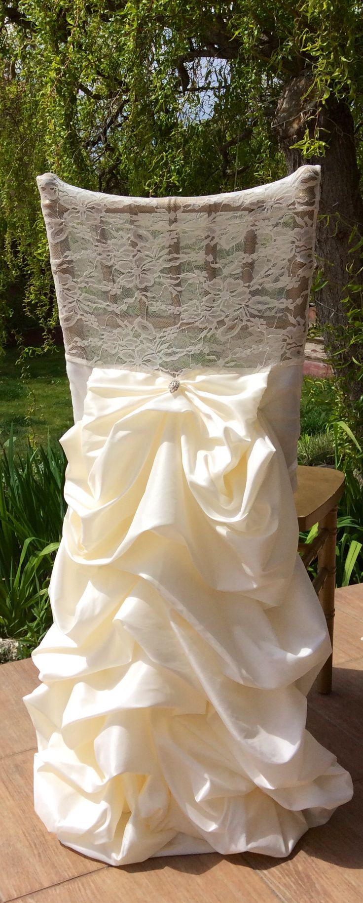 Beautiful vintage chair cover  Wes  Kami Are Getting Married  Wedding chairs Chair covers