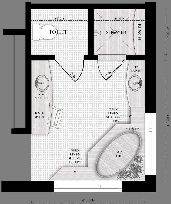 Master Bathroom Floor Plans Realize That Ours Has The Hallway On An Outside Wall But I